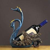 Pareja Cisne Vino Rack Resina Vertical Escritorio Decoración Europea Creativa Vino Rack Artesanía Escultura Botella Rack