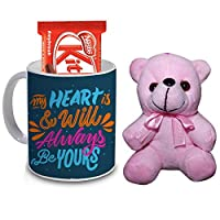 R B Store Happy Valentine's Day Quote Printed Mug Pink Teddy and Chocolate Gift Combo for Girlfriend & Boyfriend