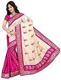 Clothfab Women's Bhagalpuri Silk Party Wear Saree (Pink-Colour)