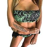 TWIFER Badeanzug Bandage Bikini Bandeau Bling Damen Pailletten Set