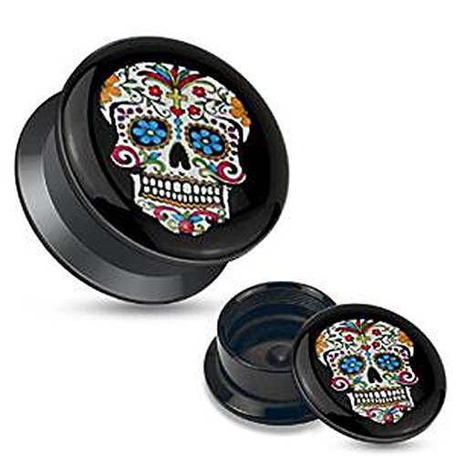 8-mm-acrylique-motif-sugar-skull-noir-plat-a-vis-plug-ecarteur-plugs-de-qualite-superieure