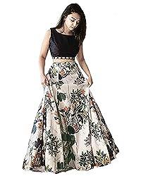 amazon offer New Designer Black and cream Raw silk material Printed semi stitched Western Look Lehengha/party wear lehengha/ festive wear lehengha/letest fashionable lehengha By Omstar Fashion