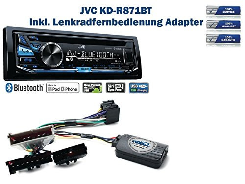 JVC KD-R871BT inkl. Lenkrad Fernbedienung Adapter Ford Escort / Fiesta / Focus / Mondeo uvm.