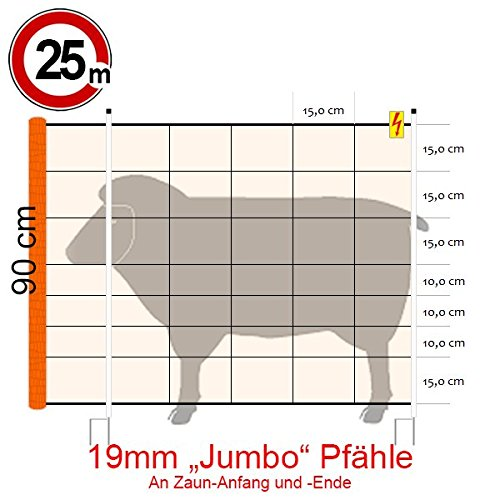 Göbel Clôture électrique d'alimentation Euro Kombi Filet Jumbo Longueur 25 m 90 cm de haut 9 Piquets Double Pointe