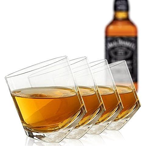 Set da 4 a forma di Scotch whisky, orientabile in vetro trasparente/Fun-Bicchiere in vetro da 10 oz-MyGift)