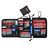 Airsson 99 Pieces First Aid Kit Bag Molle Emergency Compact Pouch-Includes Shears, Bandages, CPR Kit Set and Extra Patch and Carabiner for Home School Office Car Caravan or Travel (Middle Size-Black)