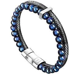 Idea Regalo - Bracciale Uomo Pelle e Pietra Naturali Chiusura Magnetica Acciaio Inox Braccialetto Regolabile Pacco Regalo (Plaid Blu 21cm)
