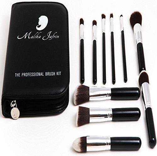 Professionelles Kabuki Make-up Pinsel Set von Künstlerin Malika Jafrin ❃ Premium 10-teiliger Satz für Ihre kosmetischen Bedürfnisse (Gesicht & Auge) ❃ Pinsel für Grundierung (Creme, Puder und Mineral), Rouge, Concealer, Bronzer & Mehr