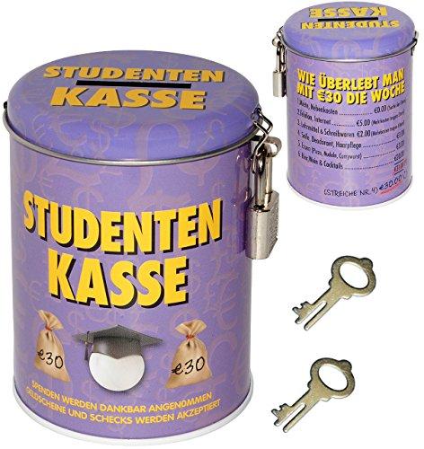 alles-meine.de GmbH Spardose -  Studenten Kasse  - mit 2 Schlüssel und Schloss - Stabile Sparbüc..