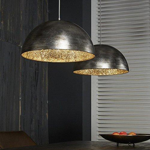 Hängelampe edle Esstischlampe antik Silber finish Innenseite Spiegel