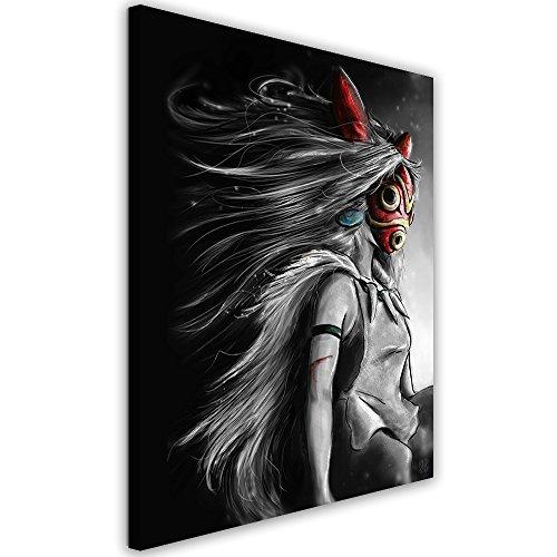 Feeby. Tableau Déco - 1 Partie - 50x70 cm, Impression sur Toile Décoration Murale Image Imprimée, Barrett Biggers - Anime Fantasy Gris