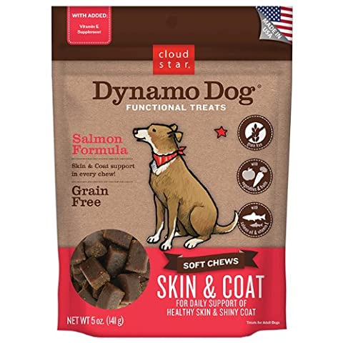 Cloud Star Dynamo Dog Skin and Coat Functional Treat Pouches, Salmon, 5-Ounce