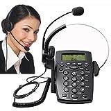PChero® Call Center Telefon Business Telefon mit Ziffernblock und Headset