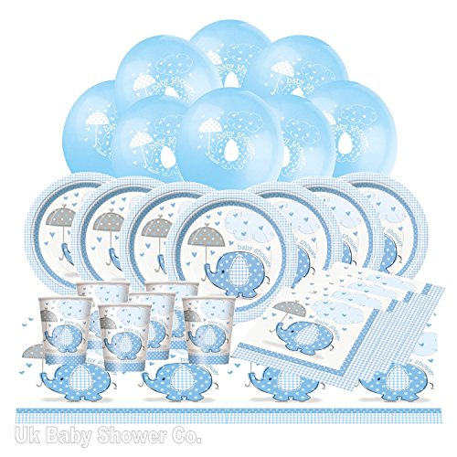 Komplettes Babyparty-Set, Design: Elefant mit Schirm, blau