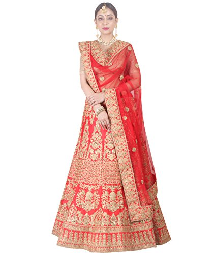 Indian Ethnicwear Bollywood Pakistani Wedding Red A-Line Lehenga Semi-stitched-DIVISL044