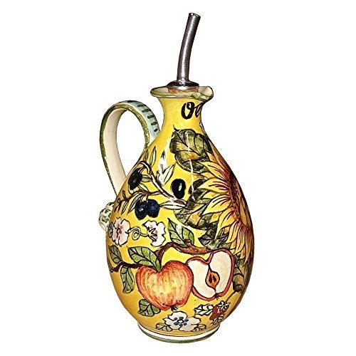 ceramiche-darte-parrini-ceramica-italiana-artistica-ampolla-olio-decorazione-girasole-dipinto-a-mano