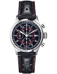 Davosa Vintage Rallye Pilot Herren Automatik Uhr mit schwarzem Zifferblatt Analog-Anzeige und schwarz Lederband 16100856