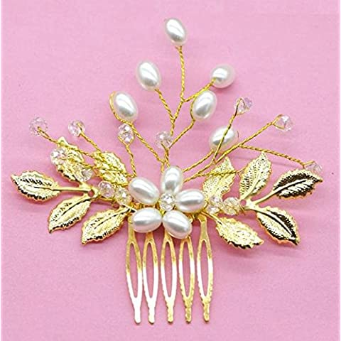 OUYANG Hoja de oro a mano con cuentas del pelo peine pelo pega tiaras novia de cabello flores , a