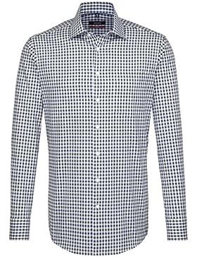 SEIDENSTICKER Herren Hemd Modern 1/1-Arm Bügelfrei Karo City-Hemd Kent-Kragen Kombimanschette weitenverstellbar