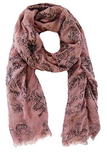 azzesso - Chal - Floral - para mujer rosa Rosa Talla única