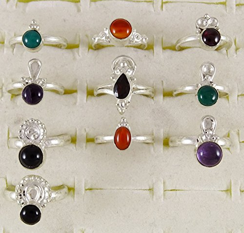 Banithani Lot de 10 paires de Pcs argenté femmes anneau bande belle mode bijoux Multicolore (Conception # 4)