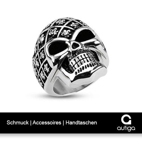 Totenkopf Ring Shield Stars Skull Sterne Edelstahl Massiv Biker Gothic silber