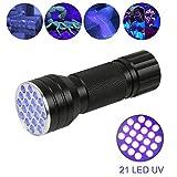 hangang Lampe torche UV LED Black Light UV Flashlight, 21lED blacklight Premium Handheld ultravioletto Pet Dog et Cat