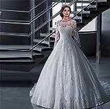 LUCKY-U Vestito da sposa Lungo Festa Abito da ballo Decorazione donna senza  schienale Pizzo f305add9768