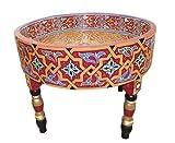 Casablanca Orient Orientalischer Marokkanischer Beistelltisch aus Zedernholz, Teetisch, Couchtisch, Deko Tisch, 100% handgefertigt & handbemalt, ø= 62 cm, H= 27 cm