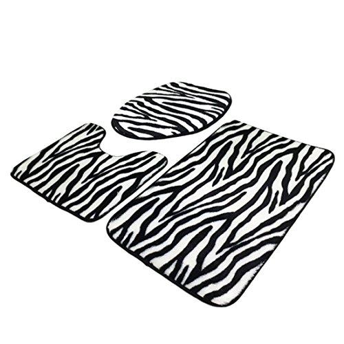 TXXCI 3 Stück Badematten teppiche WC-Deckelbezug Toilettendeckelbezug WC-Sitzbezüge WC Sitz Cover Mat-Zebra-Streifen