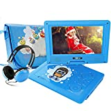 FUNAVO 9.5' Portable DVD Player with Headphone, Carring Case, Swivel Screen, 5 Hours Rechargeable Battery, SD Card Slot and USB Port (Blue)