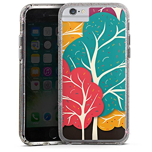 Apple iPhone 6s Bumper Hülle Bumper Case Glitzer Hülle Wald Forest Natur Bumper Case Glitzer rose gold