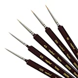 Toraypinsel Künstlerpinsel Set feinster Qualität sehr dünn ( Grösse 10/0, 5/0, 4/0, 000 und 00 ) Aquarellpinsel Detailpinsel Acrylpinsel Toray Pinselset