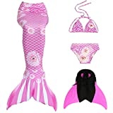 Das beste Mädchen Bikini Badeanzüge Schönere Meerjungfrauenschwanz Zum Schwimmen mit Meerjungfrau Flosse Schwimmen Kostüm Schwanzflosse - Ein Mädchentraum- Gr. 120, Farbe: Chrysantheme - Rosa