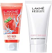Lakmé Blush and Glow Strawberry Gel Face Wash, 100g & Lakmé Absolute Perfect Radiance Skin Lightening Facewash, 50g