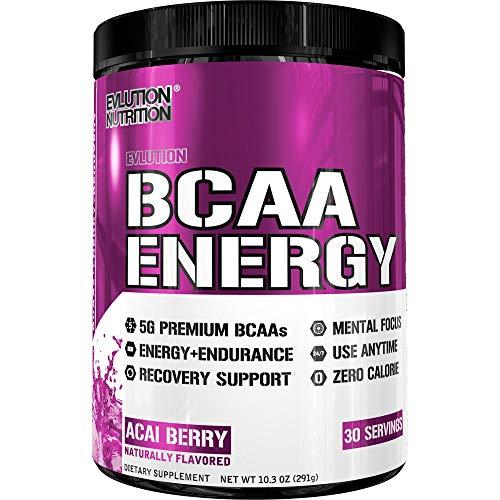 Evlution Nutrition BCAA Energy - Alto Desempeño, Suplemento de Amino Ácidos Energizantes para el Desarrollo Muscular, Recuperación y Resistencia (30 Porciones) Acaí