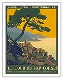 Chemins de fer de Paris-Lyon-MŽditerranŽe Railway (PLM) - Le Tour Du Cap Corse (The Tour of Cap Corse) - Corsica Island, France - Vintage Railroad Travel Poster by Roger Broders - Stampa d Arte