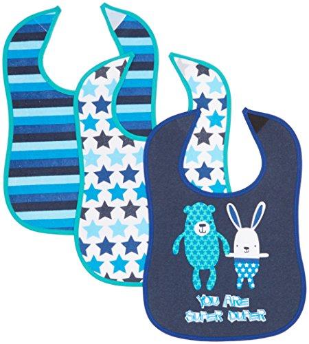 Care Baby-Jungen Lätzchen Babi1, 3er Pack, Blau (Dark Navy 778), One size
