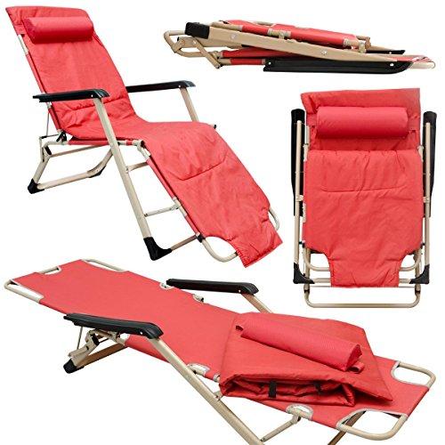 Amanka sdraio pieghevole + poggiatesta ed imbottitura rimovibili | 2in1 sedia da giardino e brandina 178cm | in acciaio peso supportato 150kg rosso