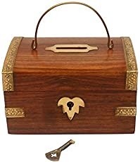 Wood Art Store Handcrafted Wooden Money Bank with lock / Kids Piggy Coin Box / Children'sGifts / Birthday gift for kids-children's and adult / wooden coin holder/money storage box