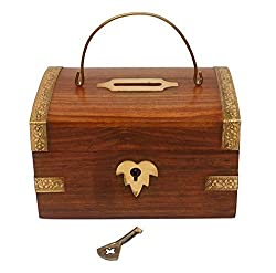 A K Handicrafts Wooden Money Box with Lock Piggy Bank Coin Box Children Gifts