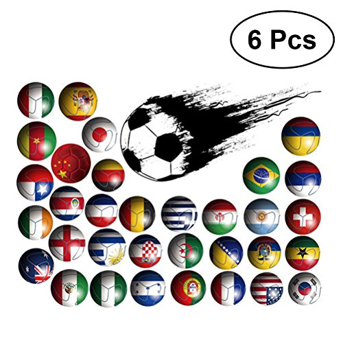 LUOEM 6Pcs Soccer Football World Cup Nation Flags Country Flags Decals Boys Room Children Bedroom Decorative Wall Paper Patriotic Party Supplies Decorations