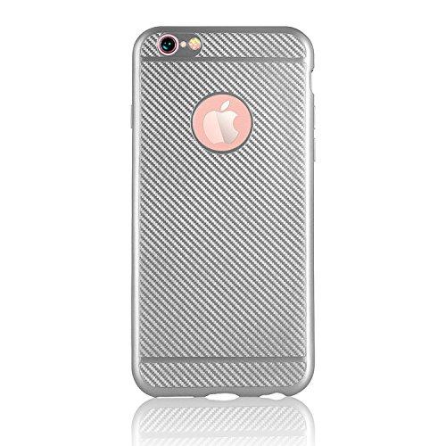 Für iPhone 6S Plus Handyhülle, Vandot [Carbon Fiber] Soft TPU Slim Fit Ultimate Drop und Impact Protection Back Cover Case Scratch-resistenten Hybrid Rugged robust Dual Layer Cover Case für iPhone 6S  Carbon Fiber Silver