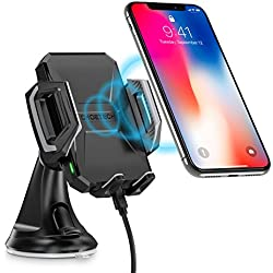 CHOETECH Fast Wireless Car Charger Mount, 7.5W for iPhone X/8/8 Plus, 10W for Galaxy S9/S9+, S8/S8+, S7/S7 Edge, S6 Edge, Note 8/5,Standard Charge for all Qi-enabled Phones Qi Wireless Car Charger Phone Holder