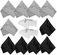 Eco-Fused Microfiber Cleaning Cloths - 12 Pack - for Cleaning Glasses, Spectacles, Camera Lenses, iPad, Tablet