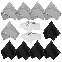 ECO-FUSED - Paños de microfibra ideales para limpieza de los lentes, gafas, lentes de cámara, iPad, tablets, iPhones, teléfonos Android, pantallas LCD y demás superficies delicadas, incluye 10 paños coloridos gris y negro y 2 blancos