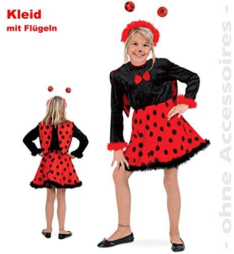Kinderkostüm Kostüm Marienkäfer Kleid mit Flügeln in Samtoptik (Marienkäfer Kostüme Flügeln Mit Plüsch)