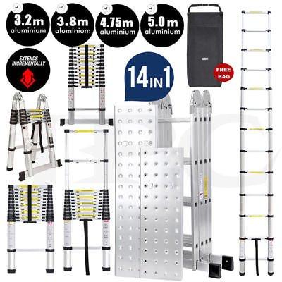 Ballino plegable Escalera telescópica simple y doble, multiusos, escalera extensible, todos los tamaños, aprobada por EN131 + bolsa + estabilizador de seguridad manos libres, escalera antideslizante