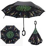 Paraguas invertido, Doble Capa C para un uso Libre de Manos, YUMOMO Dentro Fuera A Prueba De Viento UV Doble Capas Soleado El Paraguas (Amor de viaje)