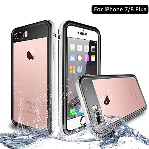 NewTsie iPhone 7/8 Plus Wasserdicht Stoßfest Hülle, IP68 Zertifiziert Schutzhülle Staubdicht mit Eingebautem Displayschutzfolie für iPhone 7/8 Plus 5.5 inch (T-Weiß)
